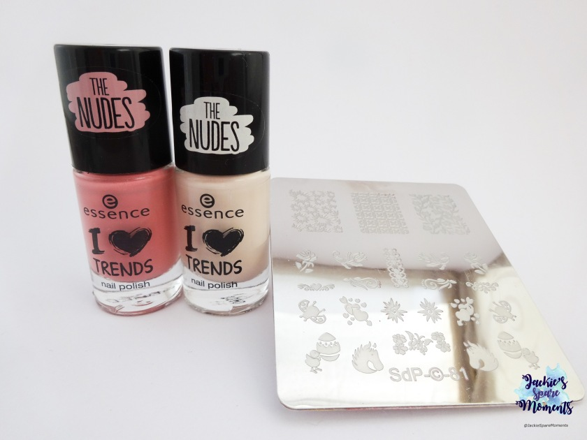 essence nail polish 07 Hope for love (I heart trends edition fall 2015), essence 02 I nude it, dashica plate SdP-81