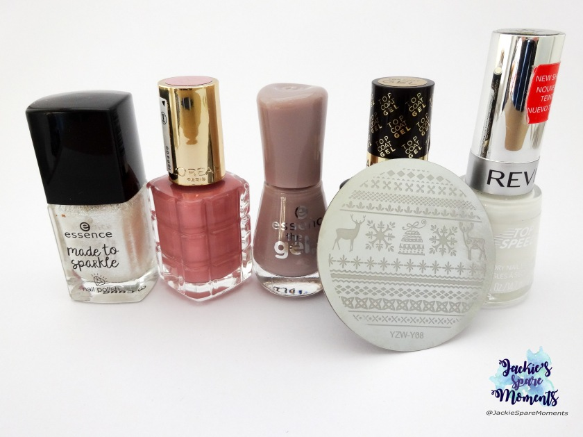 Essence Made to sparkle 02 don't be too shy to shine, L'Oreal 221 26 Rue Cremieux, Essence The Gel nail polish 99 tip top taupe, my L'Oreal Gel topcoat and Revlon Top Speed 335 Spirit, stamping plate YZWLE YZW-Y08