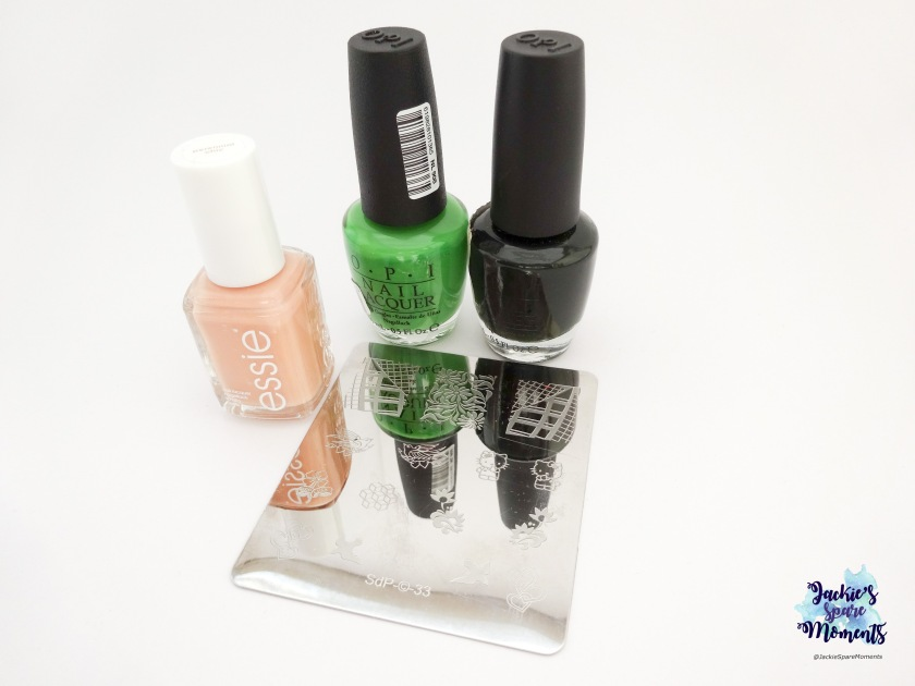 Essie Perennial Chic, OPI Front Lawn, OPI Here Today ...  Aragon Tomorrow and Dashica plate SdP-33