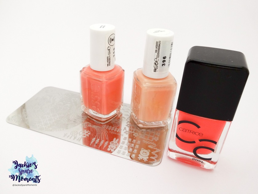 Essie stones n'roses, Essie high class affair, Catrice ICONails 07 Meet Me At Coral Island and YZWLE plate YZW-N03