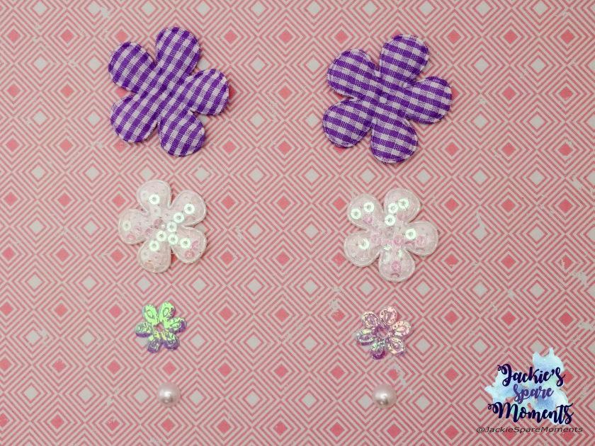 Floral appliques and pearl flatbacks