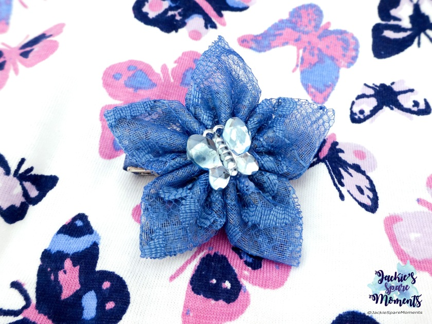 Blue lace hair bow with butterfly