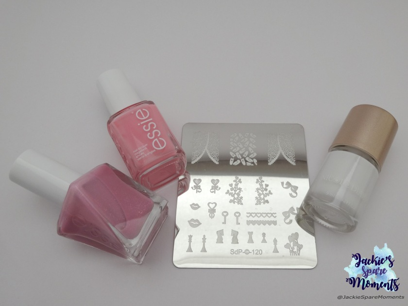Essie Gel Couture moments to mrs., Essie need a vacation, Dashica stamping plate SdP-120 and Nicole Diary stamping polish white