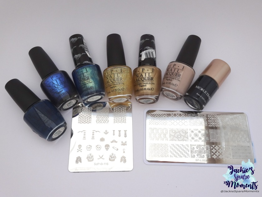 Left to right: OPII saw... U saw... we saw... Warsaw, OPIMiss Piggy's big number, OPIThe sky's my limit, OPII don't speak meek, OPI50 years of style, OPIDo you take lei away, Nicole diary black. In the front Dashica SdP-116 and BornPretty BP-L 003.