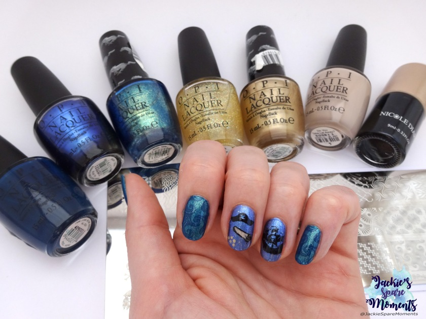Pirate mani with materials used, OPI polish, Nicole diary stamping polish, stamping plates Dashica and BornPretty