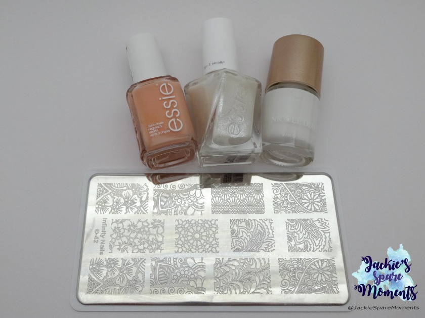 Essie high class affair, Essie gel couture Lace to the altar, Nicole Diary stamping polish white, Dashica Infinity Nails 42