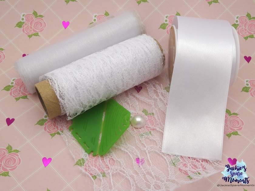 Materials used for white satin hair bow and lace flower / Clover Kanzashi maker pointed petal