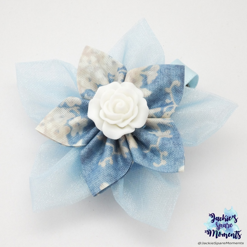 Flower hair bow made with Clover Kanzashi Flower maker