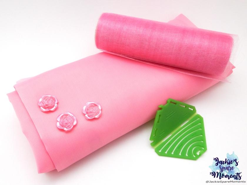 Light pink satin, Light pint organza, pink resin flowers and Clover Kanzashi Flower Maker Pointed Petal Small