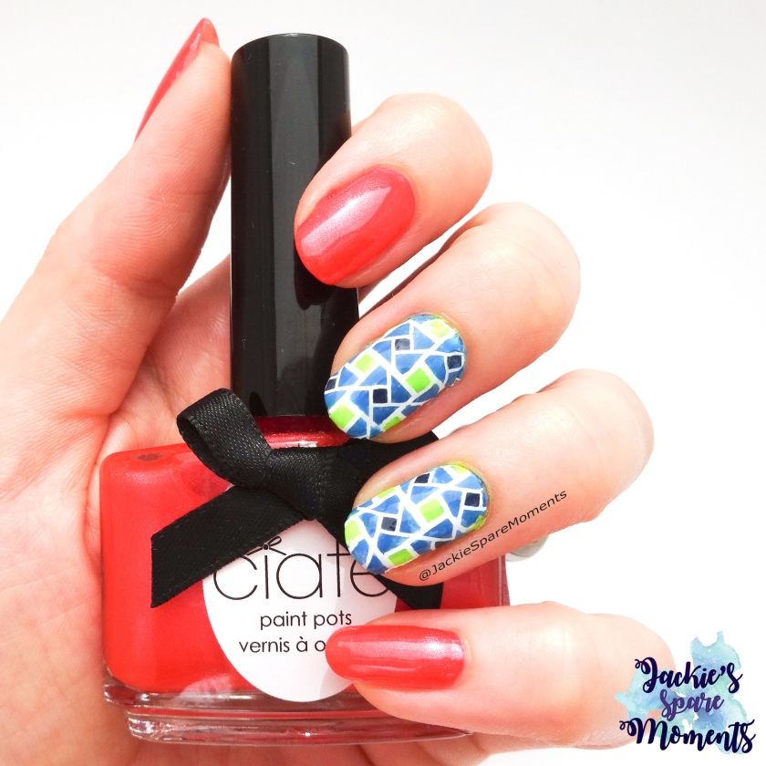 Geometric full nail decal with Pantone seasonal palette ss 2018. Cherry Tomato, Palace Blue, Sailor Blue, Lime Punch