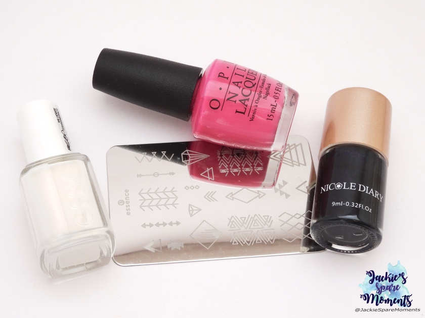 OPI Suzi has a swede tooth, Essie sweet soufflé, Nicole Diary stamping polish black, essence stamping plate