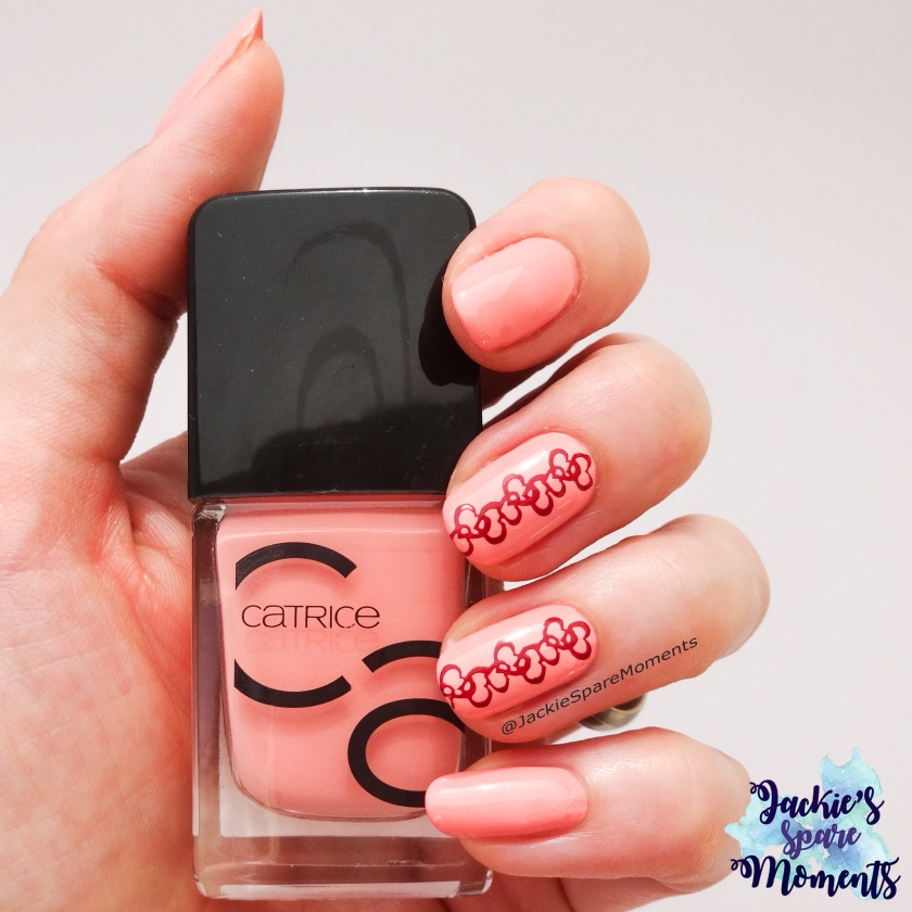 Sweet mani with stamped heart design in the pantone colours Blooming Dahlia and Spiced Apple