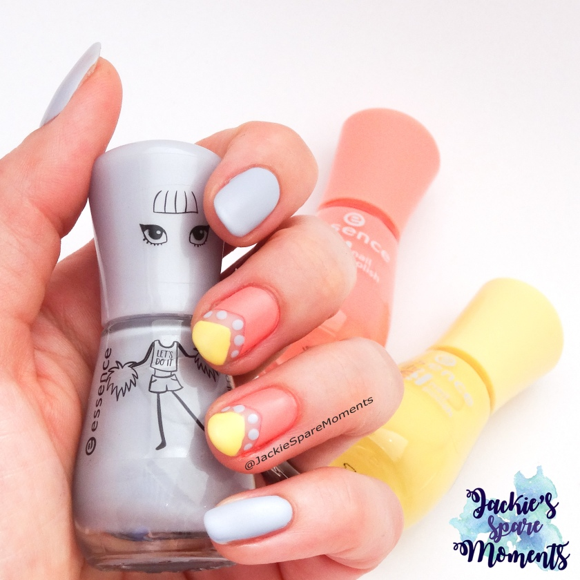 Negative space mani using all essence polishes. Shown are 115 rockablue, 24 Indian summer and 38 love is in the air