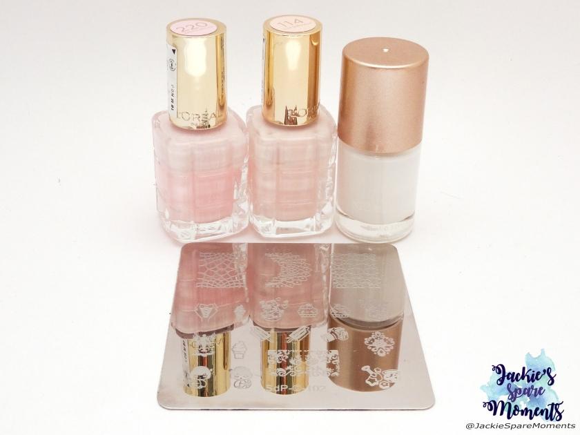 L'Oreal 220 Dimanche Apres-midi, L'Oreal 114 Nude Demoiselle, Nicole Diary white stamping polish, Dashica stamping plate SdP-102