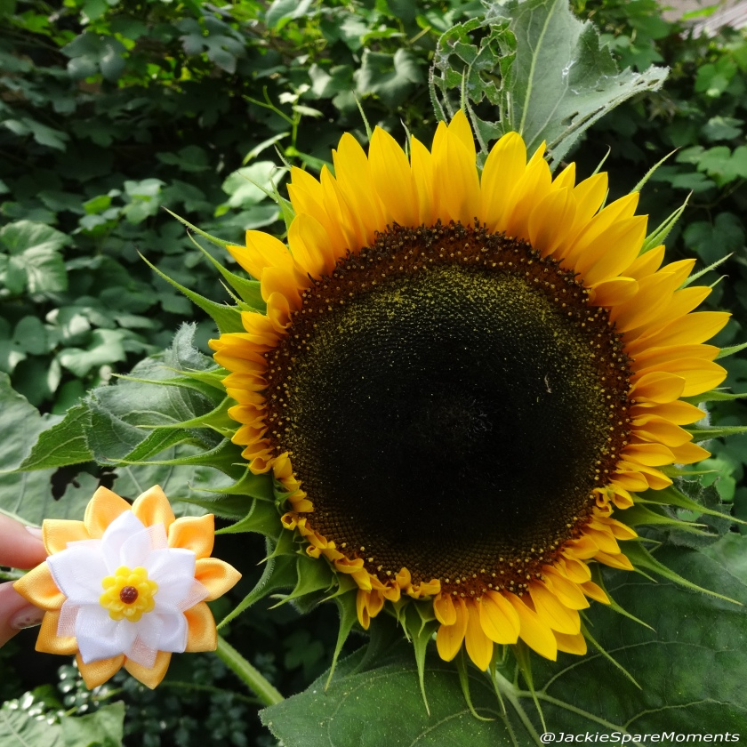 Sunflower with sunflower hair bow