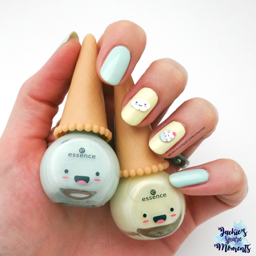 Nail art met essence Happy Kawaii nail polish 01 you're my flavourite, 03 uni-cone and 3D nail topping