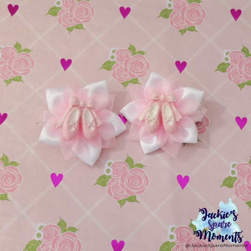 A pair of flower hair bows with ballet shoes in centre, made for Daughters 5th birthday