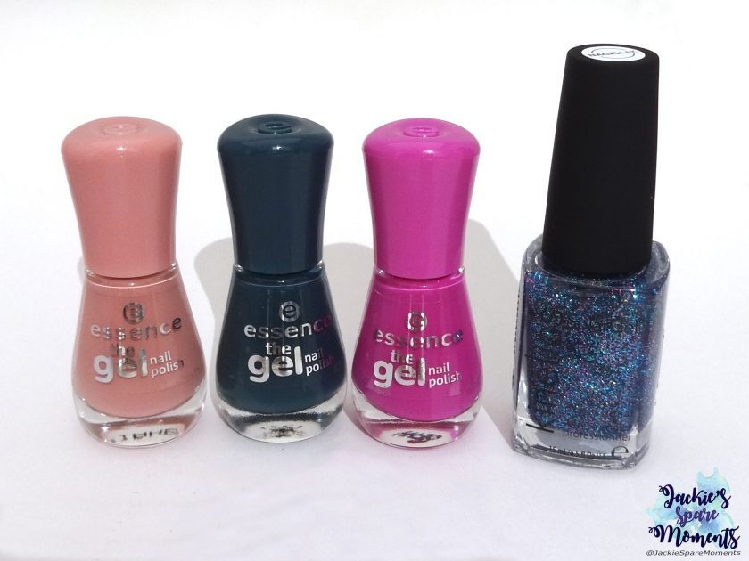 essence the gel nail polish 107 rosewood forest, 105 laguna beach, 95 vibrant purple, Kinetics solar gel Glitter Storm