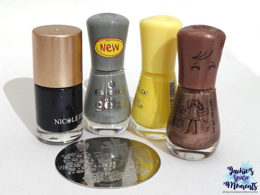 Nicole Diary stamping polish black, essence the gel nail polish 119 mud about you, essence the gel nail polish38 love is in the air, essence the gel nail polish 112 flamingold, stamping plate BP-54 BornPretty.