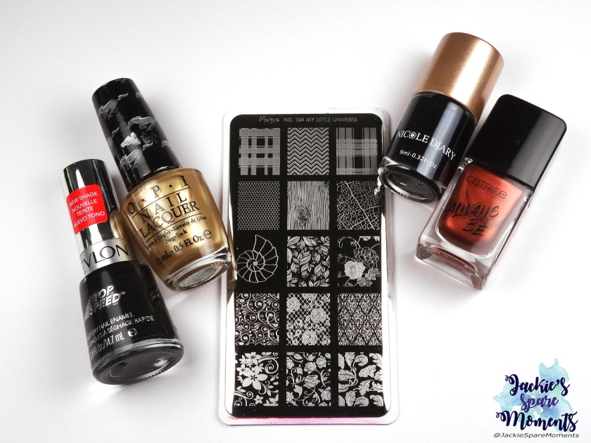 Revlon Black Magic, OPI 50 years of style, Moyra stamping plate 104, Nicole Diary black stamping polish, Catrice ICONails 58 Good Nails Only