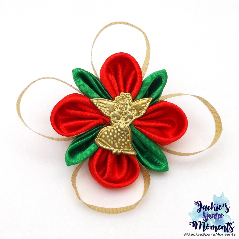 Christmas hair bow with angel center