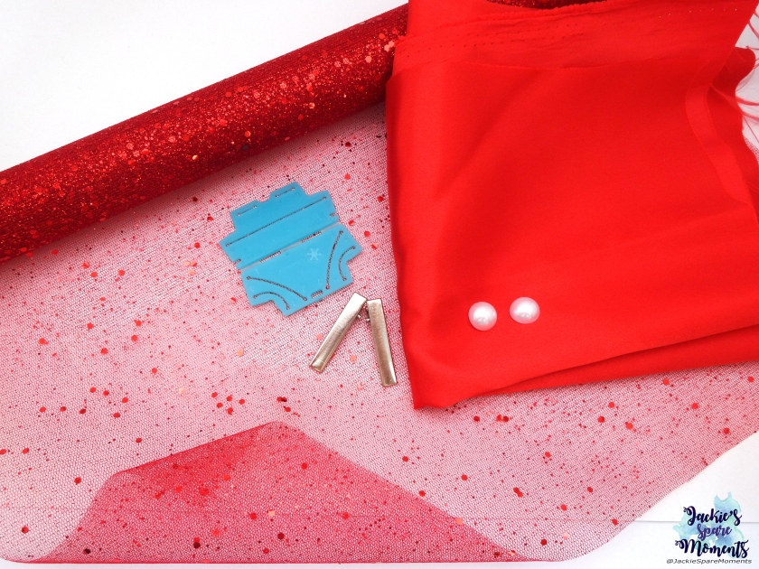 Red satin, glittery tule, pearl flatbacks, alligator clips, Clover Kanzashi Flower Maker Round Petal Small Size