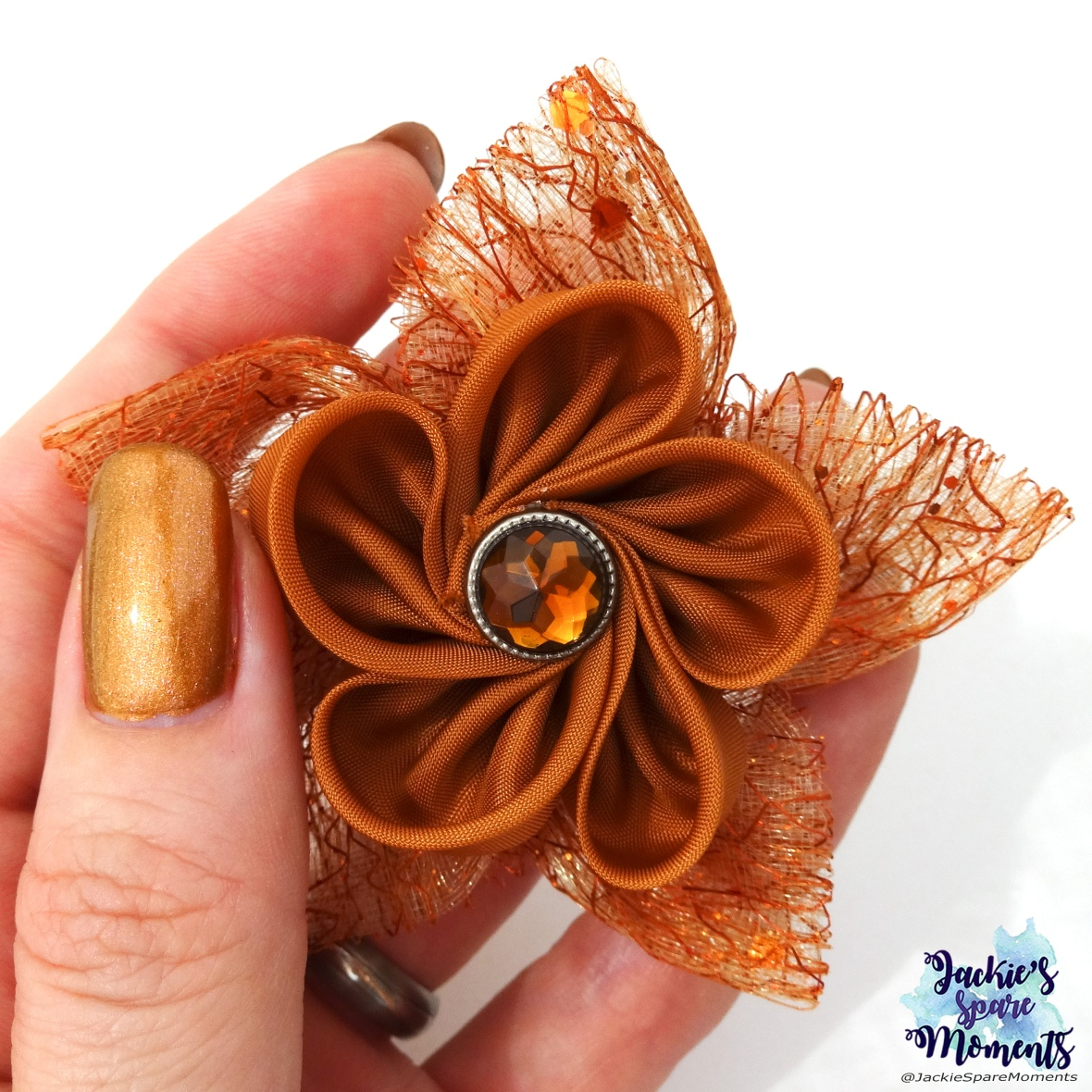 Floral hair bow inspired by Essie Leggy Legend