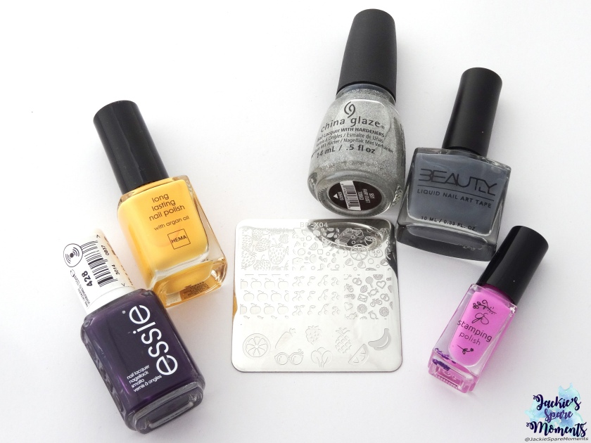 Wat ik heb gebruikt: Essie Kimono-over, Hema Sunny Flowers, China Glaze Fairy Dust, BeautyIll Liquid Nail Art Tape, CJS Stamping polish 019, BornPretty BP-X04
