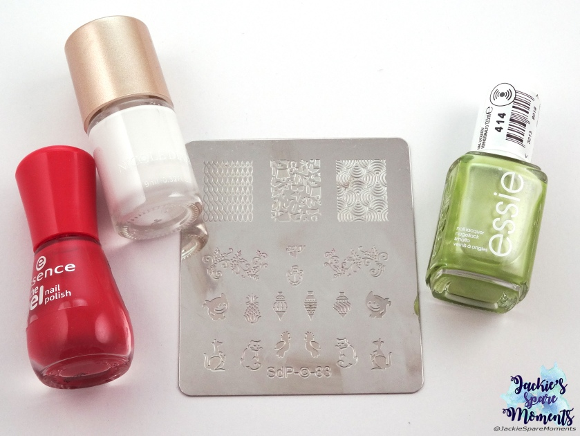 essence the gel nail polish 92 red carpet?, Nicole's Diary white stamping polish, Essie Reggae and Rum, stamping plate SdP-83
