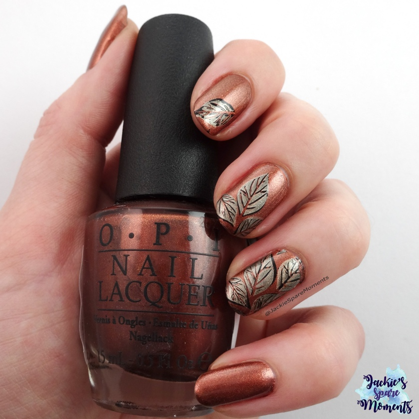Autumn leaves nail art with OPI Brisbane Bronze