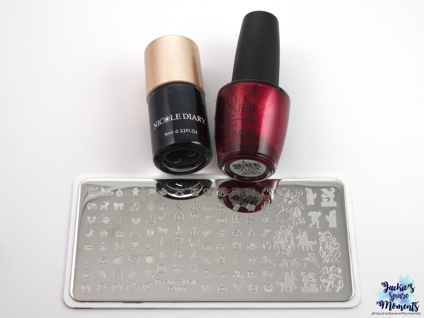 OPI I'm Not Really A Waitress, black stamping polish, stamping plate Dashica Nails 007