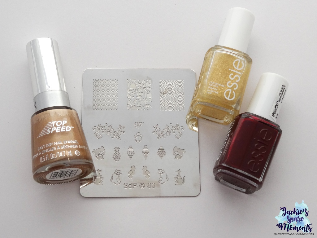 Revlon Top Speed 835 24K, Essie As gold as it gets, Essie Bordeaux, Dashica stamping plate SdP-83