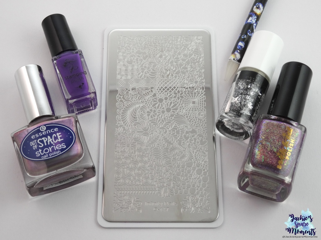 essence out of space stories 02 across the universe, CJS stamping polish 016, Wikkid polish I'm a magpie for pretties, essence loose glitter 01 star child, Dashica Infinity Nails 147, wax pencil