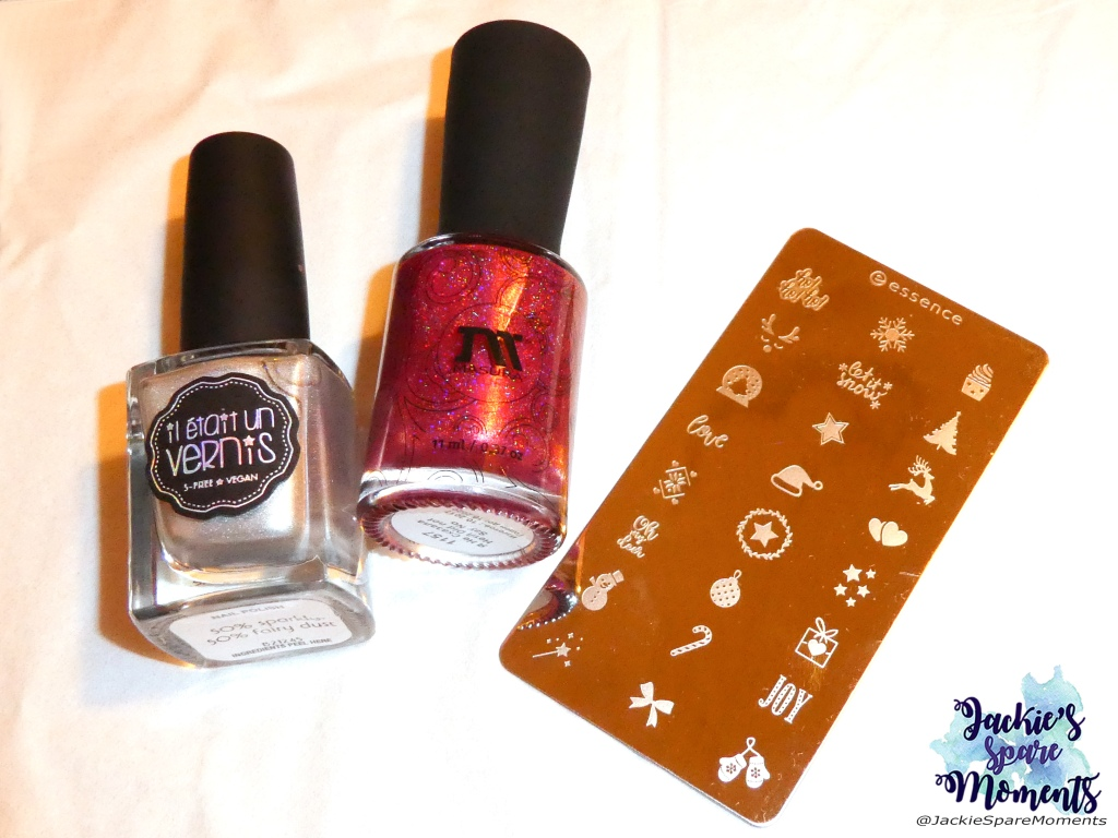 Masura I did not say no, Il etait un vernis 50% sparkly, 50% fairy dust, essence Christmas stamping plate.