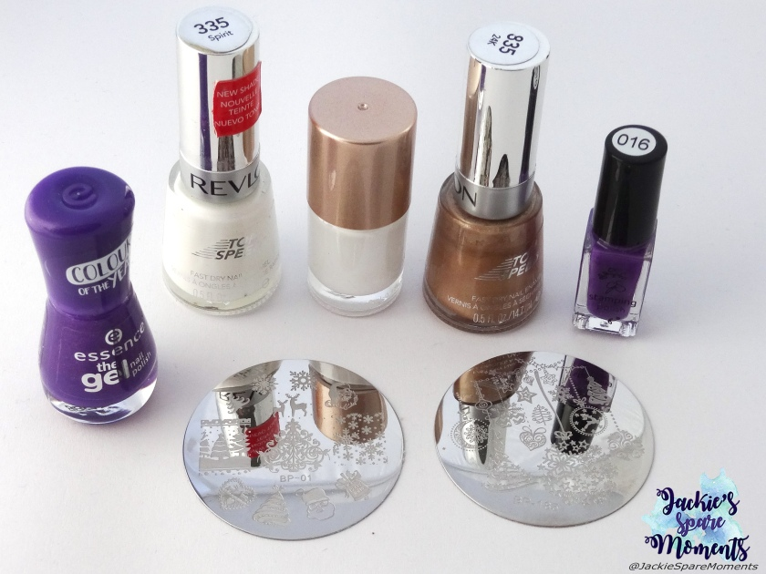 essence the gel polish 118 ultra violet, Revlon Top Speed 335 Spirit, white stamping polish, Revlon Top Speed 835 24K, Clear Jelly Stamper stamping polish number 016, BornPretty stamping plates BP-01 and BP-185