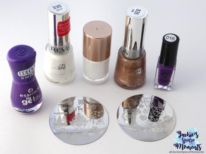 essence the gel polish 118 ultra violet, Revlon Top Speed 335 Spirit, white stamping polish, Revlon Top Speed 835 24K, Clear Jelly Stamper stamping polish number 016, BornPretty stamping plates BP-01 and BP-185