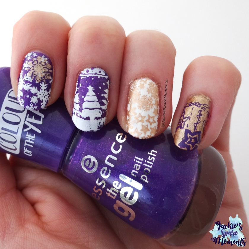 Purple Christmas nails with essence the gel polish 118 ultra violet. Pantone colour of the year 2018