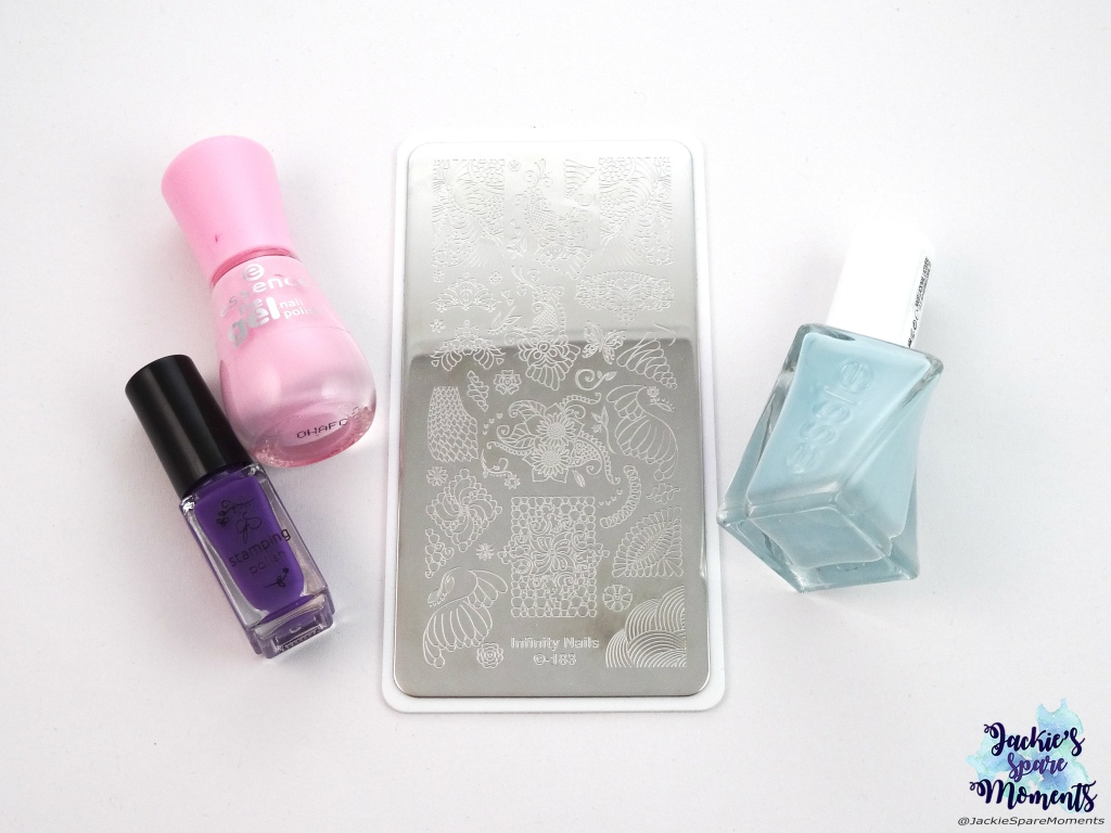 Essie Gel Couture Getting intricate, essence the gel polish 55 be awesome tonight!, Clear Jelly Stamper CJS 016, Dashica beauty shop Infinity Nails stamping plate 183