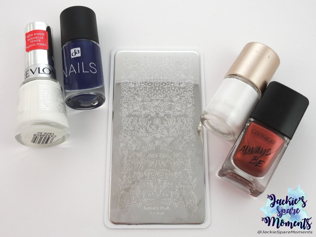 Materials used: Revlon TopSpeed 335 Spirit, DA nails 032 Navi Blue, white stamping polish, Catrice ICONails Gel Lacquer 58 Good Nails Only, Dashica stamping plate Infinity Nails 160