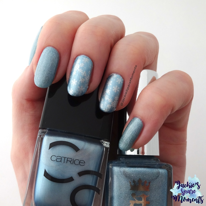Winter snowflake mani nail art with A England Symphony in Blue and Silver, Catrice 52 Another Day, Another Blue