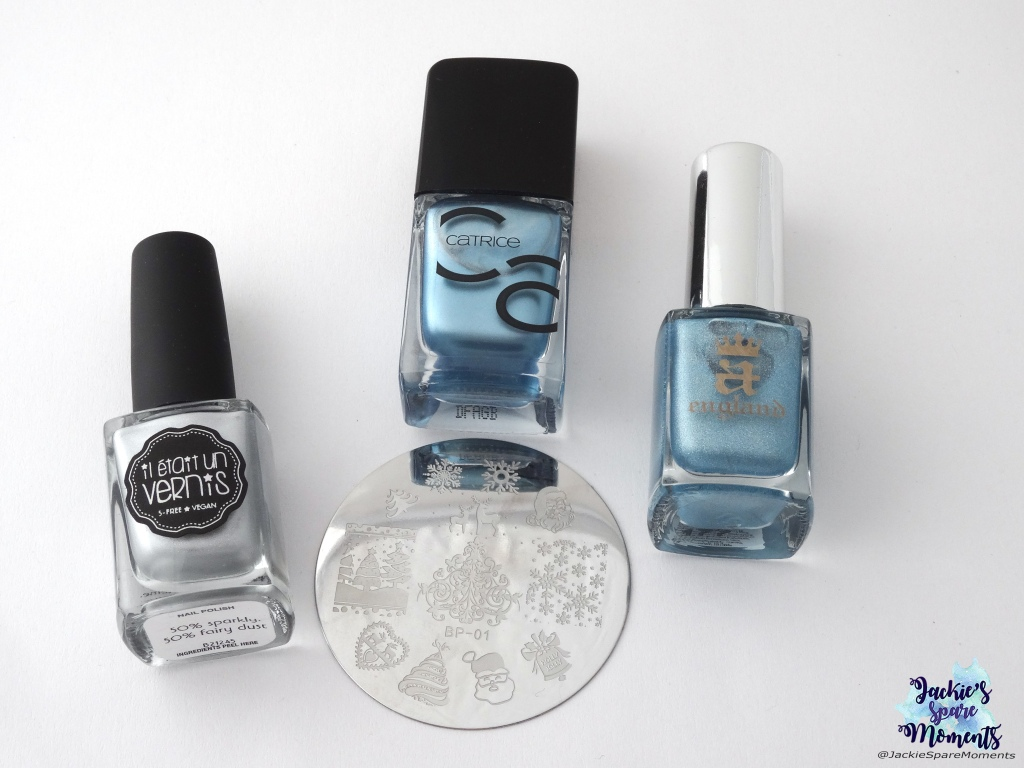 Materials used: Il était un vernis 50% sparkly, 50% fairy dust, Catrice 52 Another Day, Another Blue, A England Symphony in Blue and Silver, BornPretty stamping plate BP-01