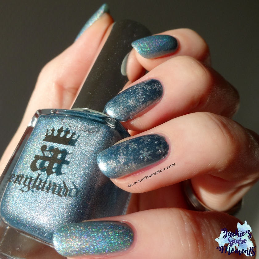 Winter snowflake nail art with A England Symphony in Blue and Silver