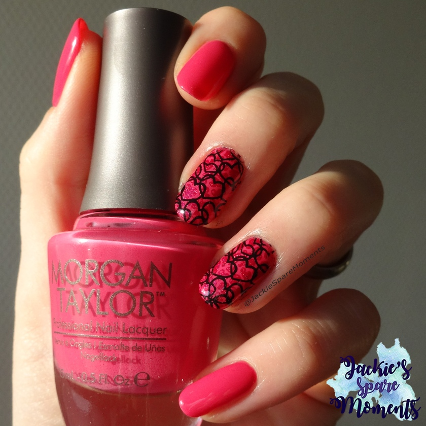 Valentines Day nail art with Morgan Taylor Don't Pansy Around