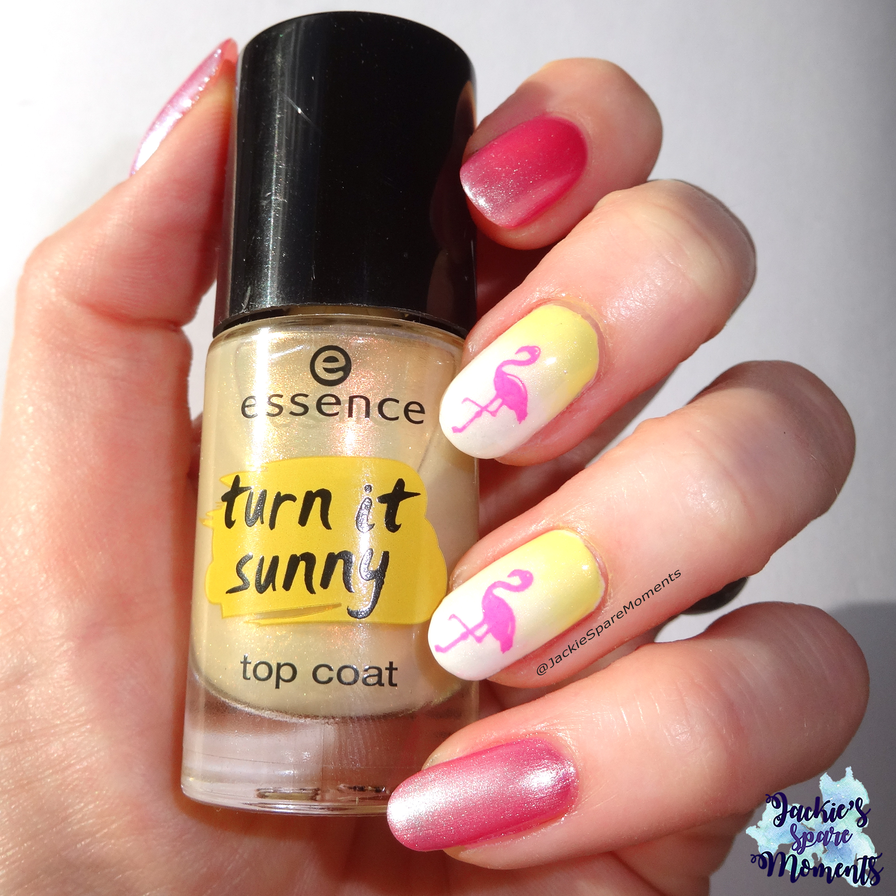 Tropical nail art with essence turn it sunny top coat