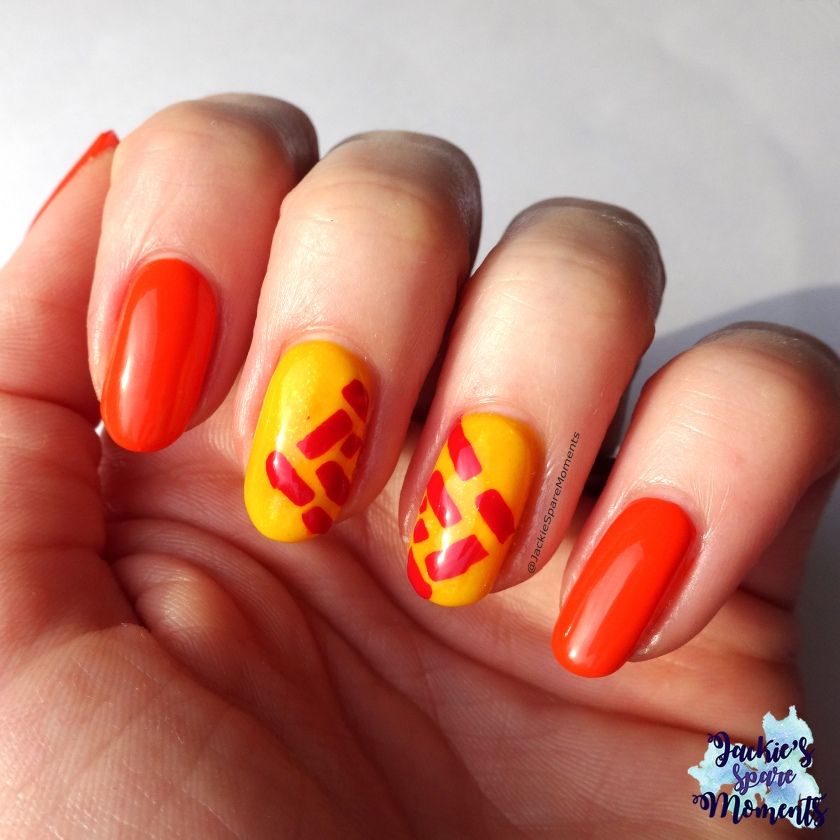 Abstract nail art in Yellow, Red and Orange