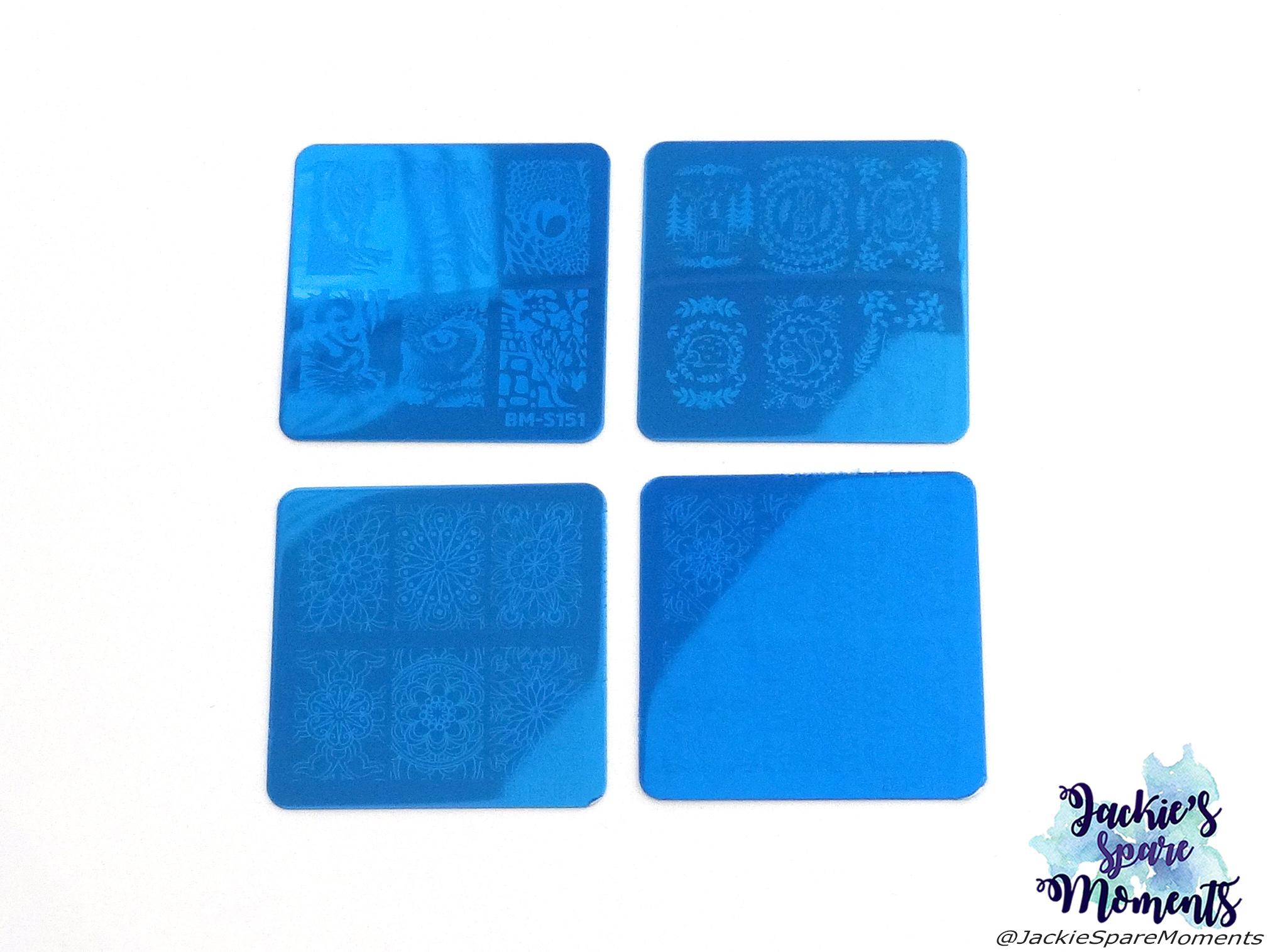 My Maniology Mystery Box, 4 small square stamping plates BM-S151, BM-S176, BM-S185, BM-S186