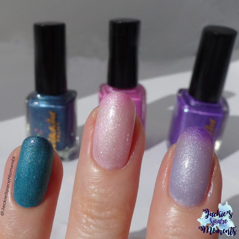 Left to right: Wikkid polish Holiday Mode (holo thermal), Coconut Ice (thermal), Stepping out with Iris (thermal)