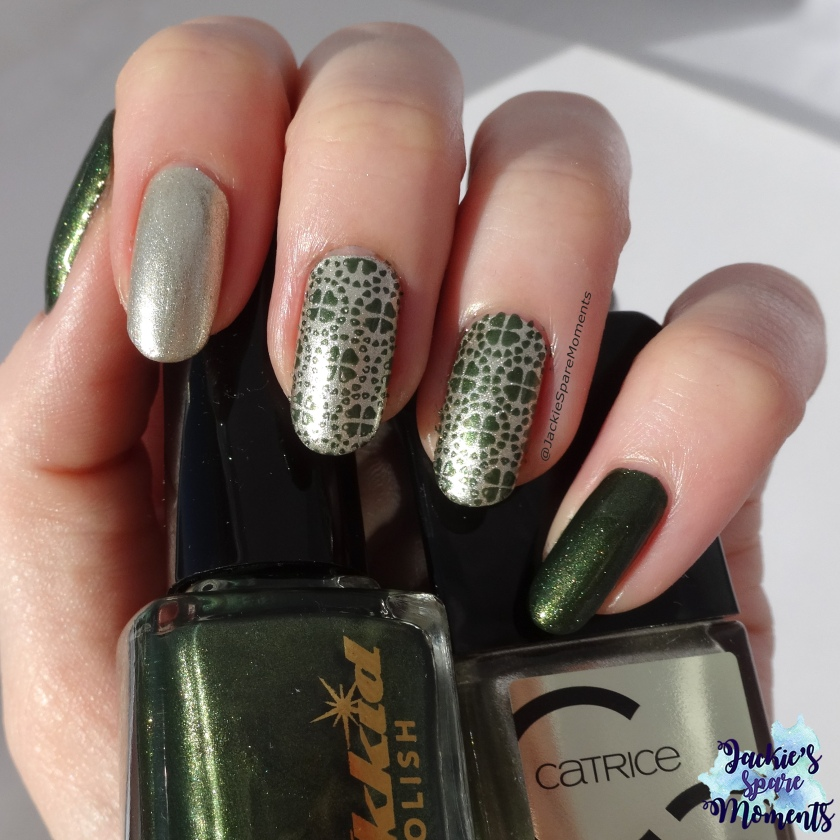 St. Patrick's day nails using Wikkid polish Forest and Catrice 78 You glow my mind