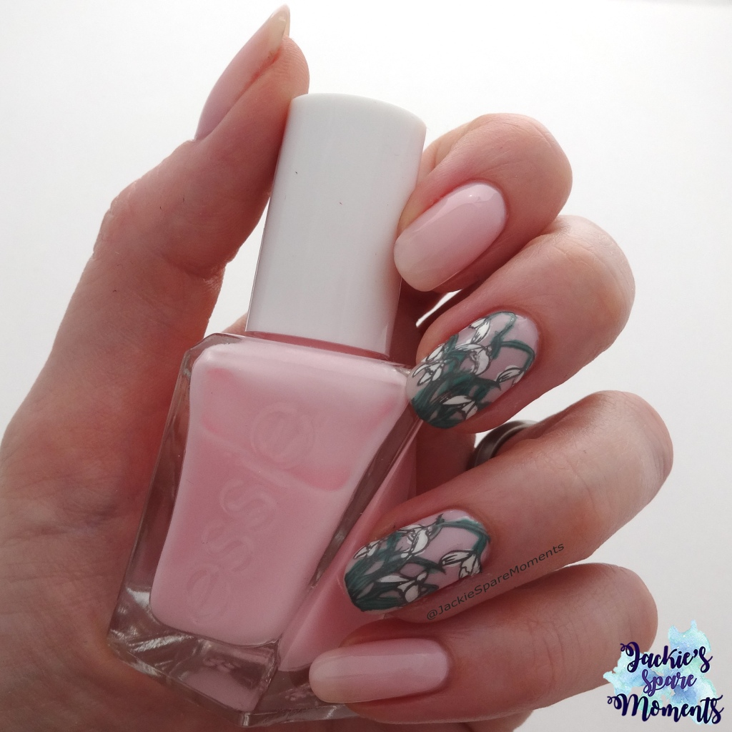 Snowdrop nail art with Essie Inside Scoop as base