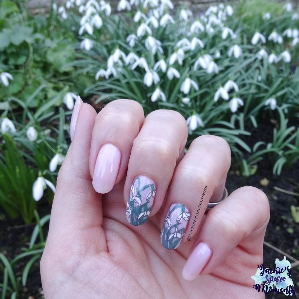 Snowdrop nail art with snowdrops in the background